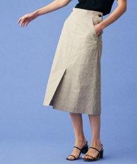 【セットアップ対応商品】リネンナイロンストレッチ トラペーズスカート