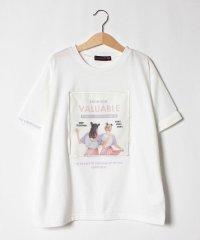 GIRLS転写プリントロールアップTシャツ