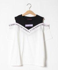 レイヤード風リブロゴ肩開きTシャツ