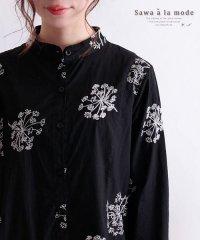 小花柄刺繍の長袖シャツチュニック