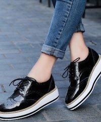 厚底オックスフォードシューズ レディース 靴 カジュアル エナメル 床革 可愛い 大人 上品 きれいめ