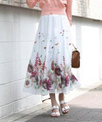 《セットアイテム》裾フラワープリントフレアスカート