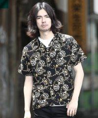 キーレオテンスパターンシャツ / 半袖シャツ メンズ カジュアルシャツ オープンカラー 開襟 シャツ
