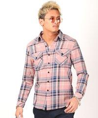 先染め長袖シャツ/長袖シャツ メンズ チェックシャツ 長袖 ウエスタンシャツ