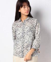 リバティプリント/丸襟シャツ
