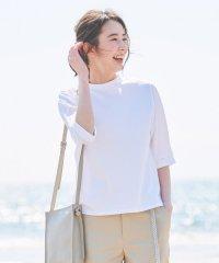 【UVケア・接触冷感】コンパクトコットンスムース ボトルネックTシャツ