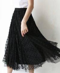 格子チュールレイヤードプリーツスカート