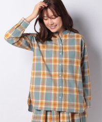 【セットアップ対応商品】コットンリネンチェックバンドカラースキッパーシャツ