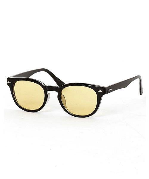 (maestoso/マエストーソ)サングラスメンズカラーレンズ伊達メガネ眼鏡メガネ伊達めがね黒ぶち眼鏡UVカットウェリントン/メンズ イエロー