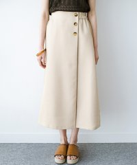 これさえあればきれいなお姉さんになれそうな気がする 麻調素材のきれいめラップ風スカート