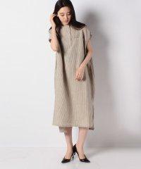 【mizuiro ind】linen patterned band collar shirt ワンピース