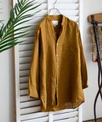 【一部WEB限定カラー】リネンバンドカラー8分袖シャツ