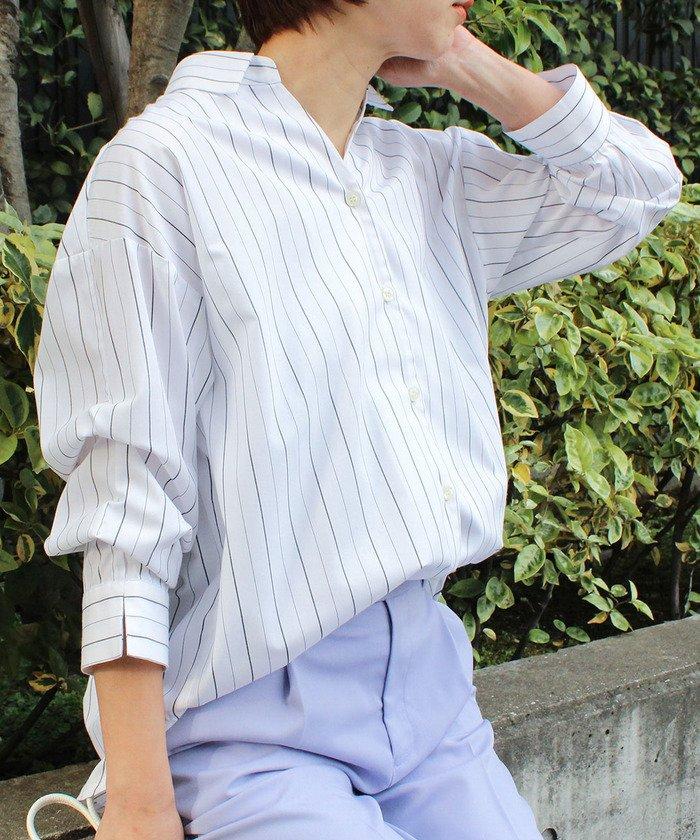 (ViS/ビス)【EASYCARE】クロワッサンスリーブ前開きシャツ/レディース オフホワイト(15)