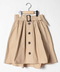 ベルトつき前ボタンスカート