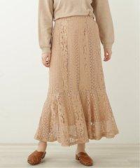 ストライプ花レース 裾切替えスカート