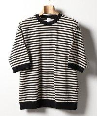 【LA BOUCLE / ラブ―クル】天竺ボーダー 5分袖ルーズ Tシャツ