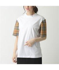 【BURBERRY(バーバリー)】8014896 ヴィンテージチェック 切替 コットン 半袖 Tシャツ カットソー WHITE レディース