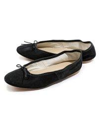 【PORSELLI(ポルセリ)】イタリア製 DS バレエ SUEDE スエードレザー バレエシューズ フラットパンプス リボン ラウンドトゥ カラーNERO 靴