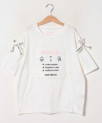 【メゾピアノジュニアコラボ】 スクエア刺しゅう袖リボンTシャツ