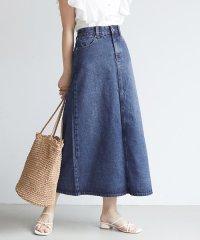 Aラインロングデニムスカート