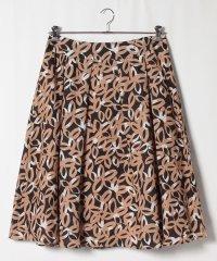 【大きいサイズ】インポート素材 リネン花柄プリントスカート