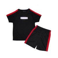 「520-12.13」キッズ 2本ライン セットアップ 半袖Tシャツ ハーフパンツ 子供服 男の子 女の子 半ズボン