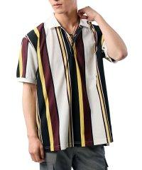 オーバーサイズストライプ半袖カノコポロシャツ