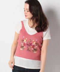【earth music&ecology/アースミュージックアンドエコロジー】【RAY CASSIN】ビッグ刺繍ニットタンク×Tシャツセット