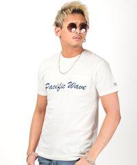 インディゴ天竺刺繍ロゴTシャツ/Tシャツ メンズ 半袖 インディゴ 天竺 刺繍 ロゴ ポケット
