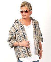 先染めチェックBIGシャツ/半袖シャツ メンズ 5分袖 チェックシャツ ビッグシルエット BITTER ビター系