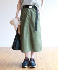 チノツイルベルト付きベイカーロングスカート