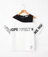 透けワンショル胸ロゴTシャツ