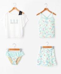トロピカル柄水着+Tシャツ+スカートセット