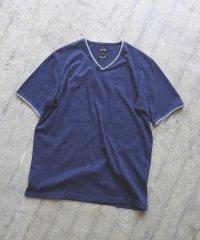 BEAMS / ダブルカラー カットオフ Vネック Tシャツ