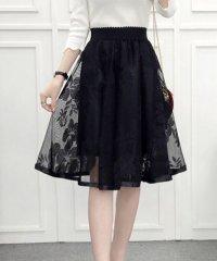レース刺しゅうスカート レディース メッシュスカート 裏地付き 透け感 フレアスカート ウエストゴム 可愛い Aラインスカート