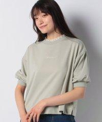 ロゴ刺繍衿レース半袖プルオーバー