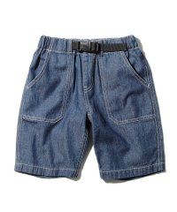 【160cm】デニム/ヒッコリー飾りベルト付きショートパンツ