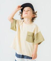 異素材配色切り替え半袖Tシャツ