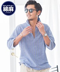 CavariA【キャバリア】綿麻ストライプカプリ7分袖シャツ