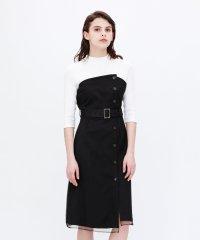 メッシュ ブロッキング モックドレス