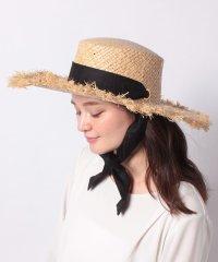 ラフィアロングリボン付きUVカンカン帽