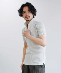 カットサッカーワイヤー襟ポロシャツ / 半袖 ポロシャツ メンズ 立ち襟 ワイヤー襟 シアサッカー