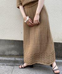 【店舗限定】【セットアップ対応】透かし編みニットスカート
