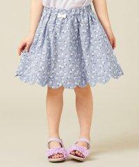 【100‐130cm】ストライプ花柄プリント スカート