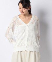 linen blend 3/Q slv pattern knitting cardigan