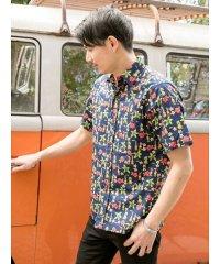 【Kahiko】TWO PALMS フラギャルズMEN'Sアロハシャツ 4HP-0603