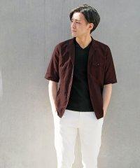 イタリアンカラー5分袖シャツ
