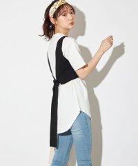 2020新作♪バックりぼんニットビスチェ(12Gアクリル綿タッチ片畦×綿天竺)×5分袖ロングTシャツセット