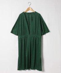 【大きいサイズ】【洗える】天竺ロング羽織りブラウス