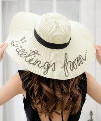 メッセージストローハット・帽子 /550135 帽子 レディース つば広 帽子uv 麦わら帽子 ストローハット つば広帽子 つば広ハット ラフィアハット 女優帽